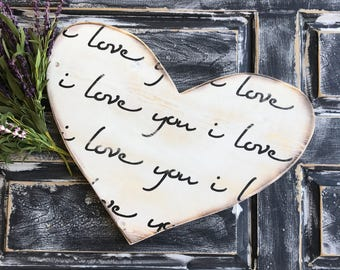 Regular Size I love You, Heart, Heart Sign, Valentine's Day Gift, Anniversary Gift, Wedding Gift, Wedding Decor, Distressed, Wooden Sign