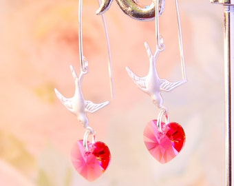 Pink Swarovski Heart Earrings Silver Bird Earrings Indian Pink Crystal Heart Earrings Dangle Earrings Romantic Gift For Wife Mother Gift