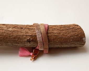wrapbracelet with tassel and rosegold clasp