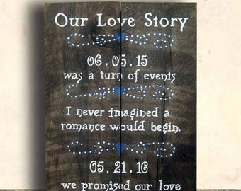 Wedding Date Sign - Wedding Signs - Wedding Decor - Love Story Sign - Wedding - Our Love Story - Our Love Story Sign - Bridal Shower Gift