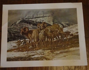 Gary Swanson Lithograph signed Franklin Embossed 1975 Ram Print Art Collectible