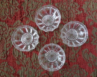 Four Clear Glass Dessert Bowls