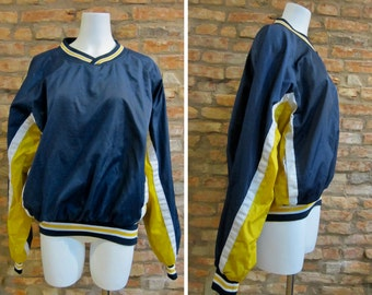 Vintage Jacket • 90s Track Jacket • Large Russell Athletic Jacket • Blue Yellow Pullover Windbreaker • 90s Sportswear • Retro Track Jacket