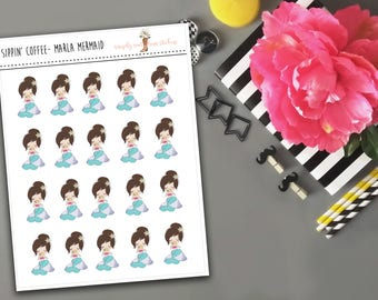 Sippin' Coffee-Marla Mermaid Planner Stickers