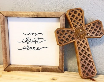 In Christ Alone faith sign, christian sign, farmhouse sign, baptism gift, confirmation gift, christian gift, housewarming gift