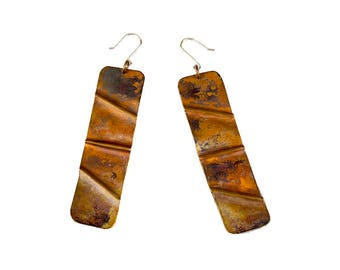 Copper Fold Formed Drop Earrings
