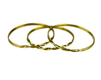 Twisted Copper or Brass Bangle