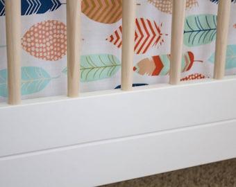 Feather Crib Skirt, 3-side Crib Skirt, Baby Bedding, Explorer Baby Crib Bedding, Woodland Crib skirt, feather skirt, feather baby crib bed