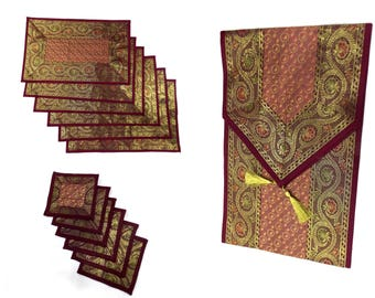 Maroon Color Indian Handmade Silk Brocade Table Runner with Placemat 6 and Coaster 6 in 16x62 Inch Size