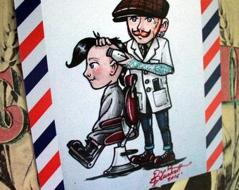 """Illustration """"Barber Shop"""" DinA4 21cm x 29cm"""