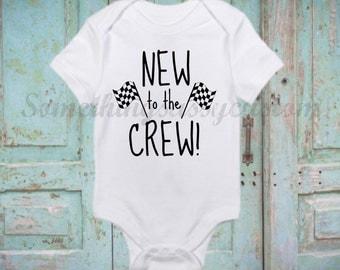New to the Crew Onesie, Pit Crew Onesie, Racing Onesie, Newborn Onesie