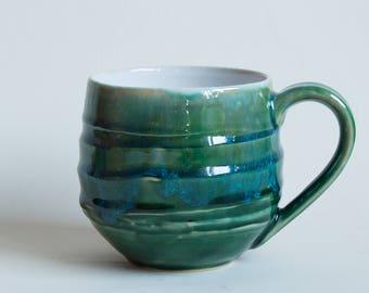 Glossy green-blue wheelthrown pottery mug, green ceramic mug