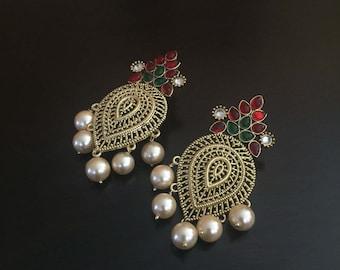 Beautiful large kemp chandelier Earrings/indian jewelry/polki earrings/antique jewelry/chand bali/jaipur/chaand bali/ jhumka/ethnic earring