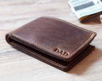 Leather Bifold Wallet, Personalized Wallet, Monogrammed Wallet, Gift for Him, Man Wallet