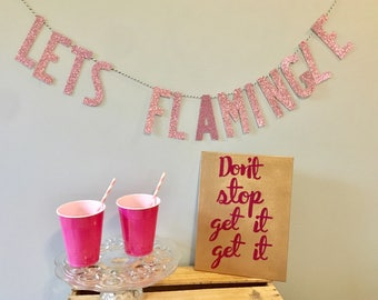LET'S FLAMINGLE Banner | Flamingo Party Decorations | Pink Gold