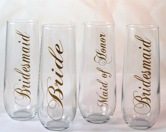 Personalized Bridal Wedding Party Stemless Champagne Glasses-Bridal Gifts-Wedding Favors-Bridal Shower-Bridesmaid Gifts-Wedding Gifts
