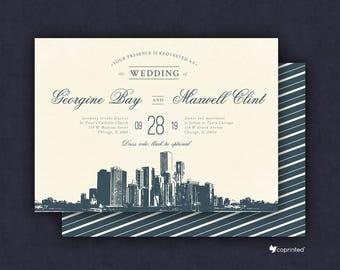 Chicago Wedding Invitation, Chicago Invitation, Chicago Skyline, City of Stars Wedding Invitation, Chicago City Wedding Invitation