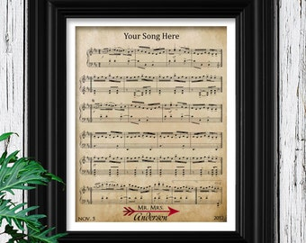 Engagement Gift - Sheet Music to Your Song - Perfect Anniversary Gift for Men & Women - Engagement Anniversary Wedding - 12th Anniversary