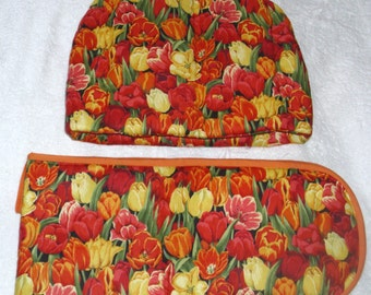 Bright Tulips Tea cosy and ovengloves