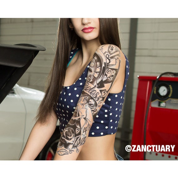les femmes tatouage temporaire manche faux tatouage manche. Black Bedroom Furniture Sets. Home Design Ideas