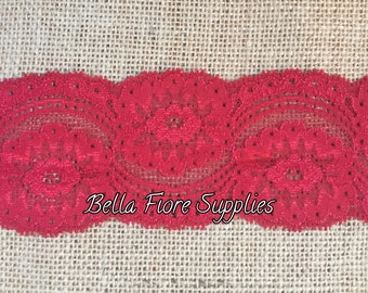 Red Stretch Lace Trim- Red Stretch Lace- Wide Stretch Lace- Wholesale Lace- DIY Headband