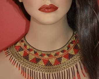 Very chic chaquira handbeaded necklace, choker, handmade, huichol art style