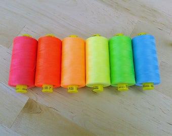 Neon Thread Gutermann Brand choose one in pink, coral, orange, yellow, green, or blue all purpose sewing thread, mara 100, 1000 meter spool
