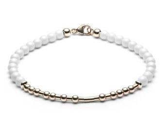 Ball bracelet / name bracelet • Morse code • white / Rosé gold