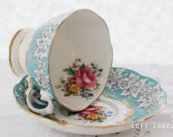 Royal Albert, Enchantment, teacup and saucer, aqua-blue, grey, white, floral sprays, lovely Malvern shape ,LARGE size