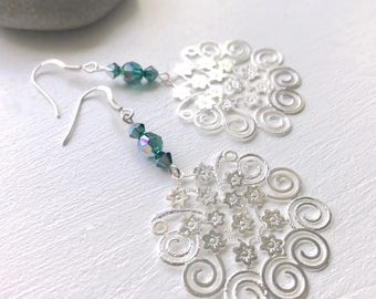 Silver earrings with large flowers and Swarovski Crystal pendant