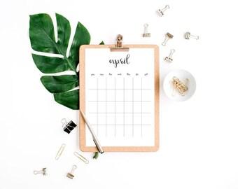 Modern Black Minimal Simple No Date Planner Calendar Wall, Desk, Big Wall, Frame Printable Calendar // Letter Size - 8,5 x 11 in