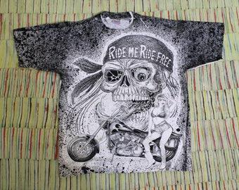 Vintage 90's All Over Print Biker Shirt, Size Large