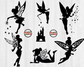 Disney svg, Tinkerbell, Disney World svg, Disney Castle, Fairy, Magic Kingdom, Disneyland, Cut File, DXF, silhouette, cameo, cricut, pn