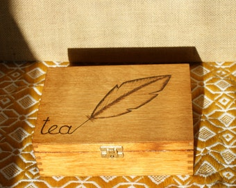 made to order, personalized tea box, wooden tea box, tea box, tea bag box, wooden tea organizer, tea bag storage, rustic tea box