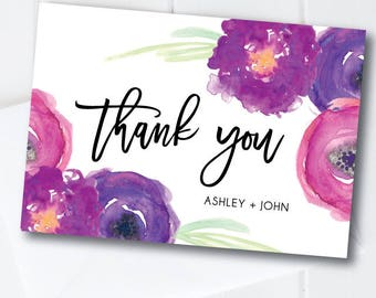 Wedding Thank You Cards, Thank You Notes, Personalized Thank You Cards, Purple Wedding, Custom Thank You Cards, Thank You Notes