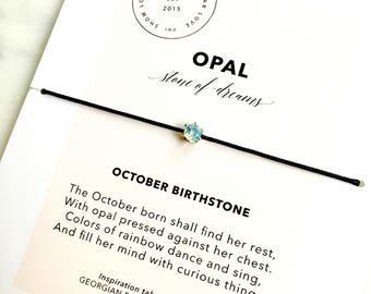 Genuine Opal Bracelet/ October Birthstone Bracelet/ Layering Bracelet/ Birthday Birthstone Gift