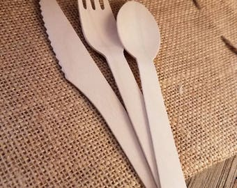 wooden utensils, wedding silverware, wooden silverware, wooden spoon, wooden forks, party supplies, Ice Cream Spoons