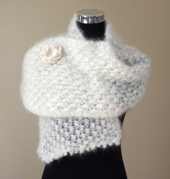 Pearly Pattern Mohair knitted Scarf with Brooch Lace Shawl