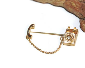 Vintage Avon Gold Telephone Stick Pin with Dangling Chain, Trendy Jewelry, Hipster Jewelry, Kitsch Jewelry, Vintage AVON Pin, Avon Jewelry