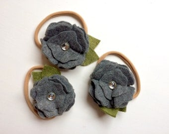 Dark gray ruffle blossom with rhinestone - alligator clip - headband