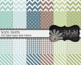In The Frosty Air Winter Digital 12x12 Basic Pattern Papers and Backgrounds INSTANT DOWNLOAD