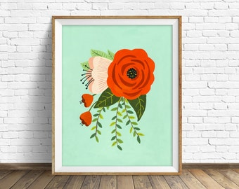 "floral art prints, flower wall art, folk art, instant download printable art, modern, contemporary, aqua, prints - ""Folk Art Flowers No. 2"""