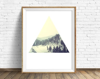 """landscape, wall art, instant download printable art, large wall art, forest, gray, geometric, modern, minimalist, prints - """"Silent Forests"""""""