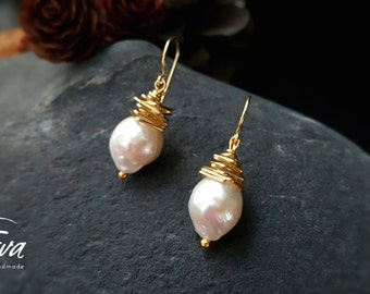 Artisan wrapped freshwater baroque pearls. for her, anniversary, handmade, unique earrings 20165
