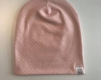 Newborn Pink Polka Dot Hipster Beanie