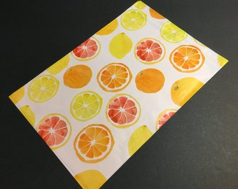 50 Designer CITRUS FRUIT Poly Mailers 10x13 Envelopes Shipping Bags