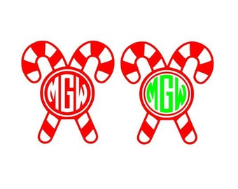 Candy cane svg, Candy Cane Monogram svg, Christmas svg files, svg, dxf, eps, Cricut Design Space, Cameo Silhouette Studio