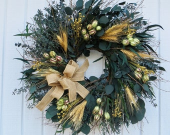 Large Twig Wreath, Exlarge Twig Wreath, Dried floral Wreath,Mutli Twig Wreath, Twig Wreath, Twig wreath with Dried Flowers, Hydrangea