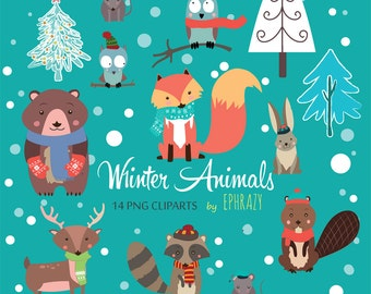 Winter animals clipart. Forest animals clipart. Woodland animals clipart.Cute animals clipart.Animal clipart. Fox clipart.