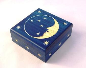 Handmade Wooden Box/ Box with Moon and Stars/ Keepsake Box/ Jewelerry Box/ Trinket Box/ Small Storage Box